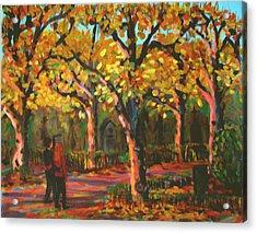 Cemetary In Autumn Acrylic Print by Art Nomad Sandra  Hansen