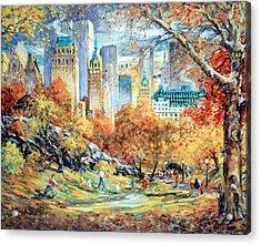 Central Park Fall Acrylic Print by Kamil Kubik