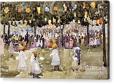Central Park  New York City  July Fourth  Acrylic Print by Maurice Prendergast