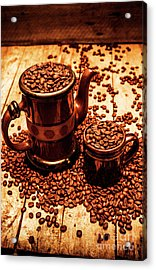 Ceramic Coffee Pot And Mug Overflowing With Beans Acrylic Print by Jorgo Photography - Wall Art Gallery