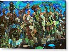 Ceremonial Dance Of The Mighty Zulus Acrylic Print by Lee Ransaw