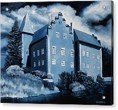Cervena Lhota Castle  Czech Republic  Midnight Oil Series Acrylic Print by Mark Webster