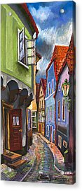 Cesky Krumlov Old Street 1 Acrylic Print by Yuriy  Shevchuk