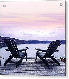 Chairs On Lake Dock Acrylic Print by Elena Elisseeva