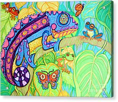 Chamelion And Rainforest Frogs Acrylic Print by Nick Gustafson