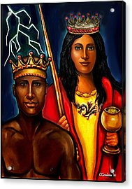 Chango And Saint Barbara Work In Progress Acrylic Print by Carmen Cordova
