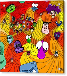 Characters In Color Acrylic Print by Jera Sky