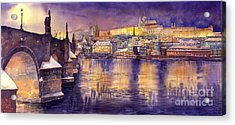 Charles Bridge And Prague Castle With The Vltava River Acrylic Print by Yuriy  Shevchuk