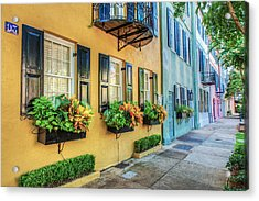 Charleston's Rainbow Row Acrylic Print by Drew Castelhano