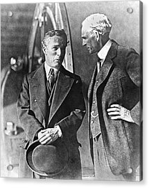 Charlie Chaplin And Henry Ford Acrylic Print by Underwood Archives