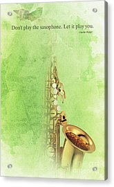 Charlie Parker Saxophone Green Vintage Poster And Quote, Gift For Musicians Acrylic Print by Pablo Franchi