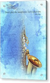 Charlie Parker Saxophone Vintage Poster And Quote, Gift For Musicians Acrylic Print by Pablo Franchi