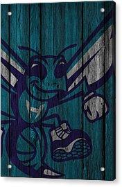 Charlotte Hornets Wood Fence Acrylic Print by Joe Hamilton