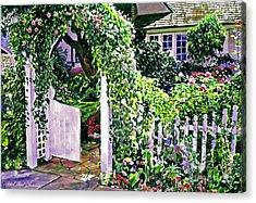 Charming Cottage Gate Acrylic Print by David Lloyd Glover