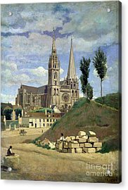 Chartres Cathedral Acrylic Print by Jean Baptiste Camille Corot