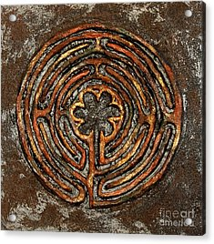 Chartres Style Labyrinth Earth Tones Acrylic Print by Anne Cameron Cutri