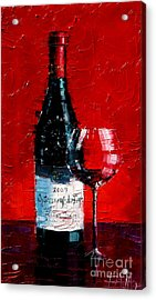 Still Life With Wine Bottle And Glass I Acrylic Print by Mona Edulesco