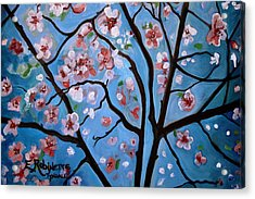 Cherry Blossoms In Bloom Acrylic Print by Elizabeth Robinette Tyndall