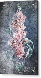 Cherry Blossoms On Vintage Acrylic Print by Irina Effa