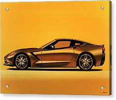Chevrolet Corvette Stingray 2013 Painting Acrylic Print by Paul Meijering
