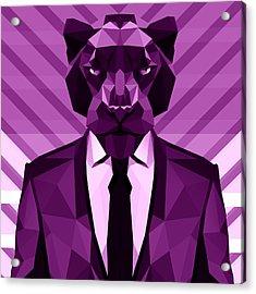 Chevron Panther Acrylic Print by Filip Aleksandrov