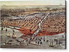 Chicago As It Was Acrylic Print by Currier and Ives
