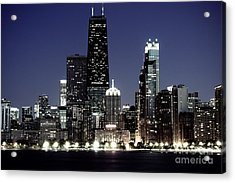 Chicago At Night High Resolution Acrylic Print by Paul Velgos