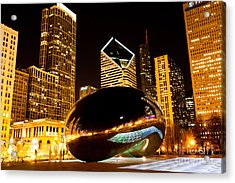 Chicago Bean Cloud Gate At Night Acrylic Print by Paul Velgos