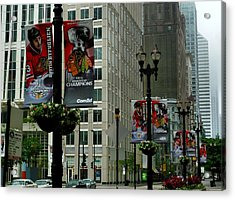 Chicago Blackhawk Flags Acrylic Print by Ely Arsha