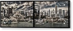 Chicago Buckingham Fountain Summer Storm Passing Multi Panel Acrylic Print by Thomas Woolworth