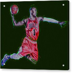 Chicago Bulls Derrick Rose Painted Digitally Red Acrylic Print by David Haskett