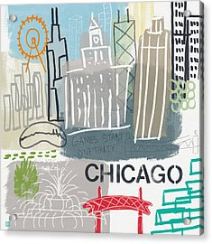 Chicago Cityscape- Art By Linda Woods Acrylic Print by Linda Woods
