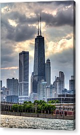 Chicago From The Pier Acrylic Print by Joshua Ball
