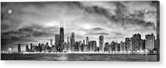 Chicago Gotham City Skyline Black And White Panorama Acrylic Print by Christopher Arndt