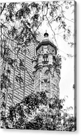 Chicago Historic Water Tower Fog Black And White Acrylic Print by Christopher Arndt