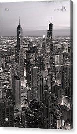 Chicago Loop Sundown B And W Acrylic Print by Steve Gadomski