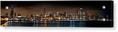 Chicago Skyline At Night Extra Wide Panorama Acrylic Print by Jon Holiday