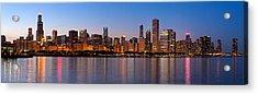 Chicago Skyline Evening Acrylic Print by Donald Schwartz