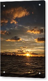 Chicago Skyline Sunset Acrylic Print by Steve Gadomski