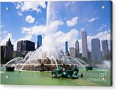 Chicago Skyline With Buckingham Fountain Acrylic Print by Paul Velgos