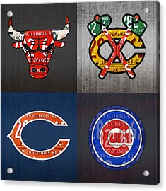 Chicago Sports Fan Recycled Vintage Illinois License Plate Art Bulls Blackhawks Bears And Cubs Acrylic Print by Design Turnpike