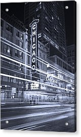 Chicago Theater Marquee B And W Acrylic Print by Steve Gadomski