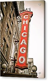 Chicago Theater Sign Marquee Acrylic Print by Paul Velgos