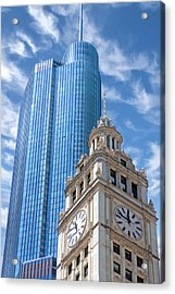 Chicago Trump And Wrigley Towers Acrylic Print by Christopher Arndt