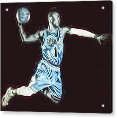Chicao Bulls Derrick Rose Painted Digitally Blue Acrylic Print by David Haskett