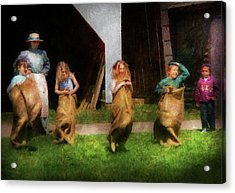 Children - The Sack Race  Acrylic Print by Mike Savad
