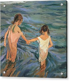 Children In The Sea Acrylic Print by Joaquin Sorolla y Bastida