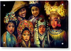 Children Of Asia Acrylic Print by Jean Hildebrant