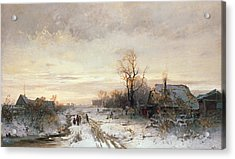 Children Playing In A Winter Landscape Acrylic Print by August Fink