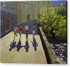 Children Running Acrylic Print by Andrew Macara